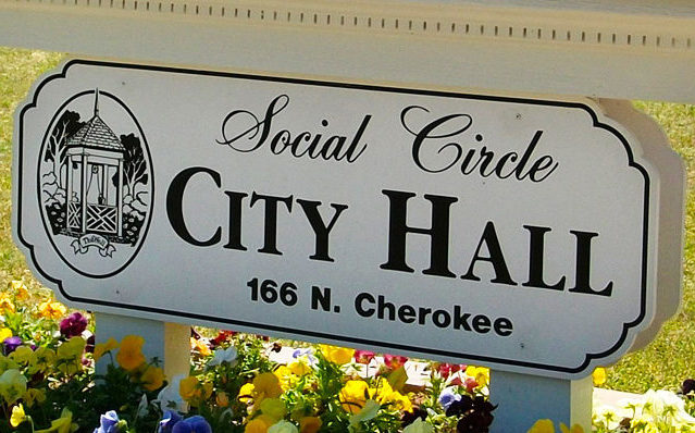 Social Circle City Hall sign