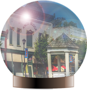 Crystal ball view of downtown Social Circle
