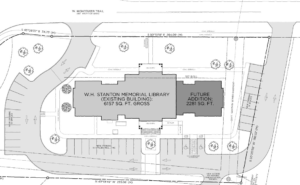 A drawing showing the addition of 2281 sq ft to the existing W.H. Stanton Memorial Library