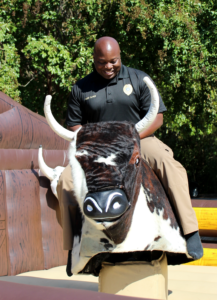 Chief Oliver on the bull ride